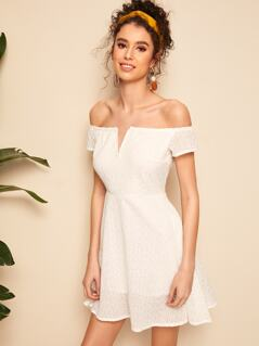 Off Shoulder Schiffy Fit & Flare Dress
