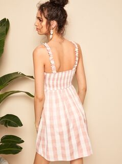 Frilled Trim Gingham Shirred Sundress