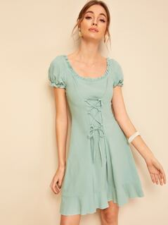 Frilled Scoop Neck Lace Up Dress