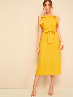 Ruffle Trim Sleeveless Belted Midi Dress