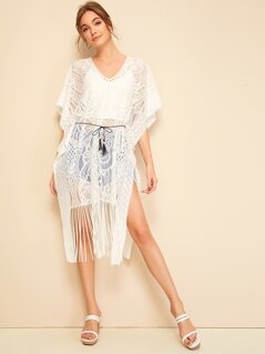 Fringe Hem Sheer Lace Cover Up With Belted