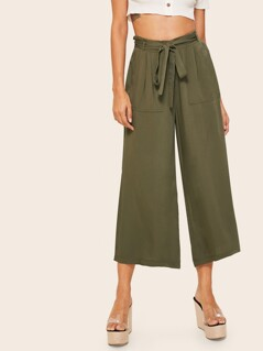 Paperbag Waist Crop Wide Leg Pants