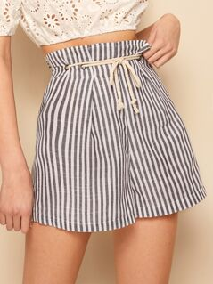 Grommet Belted Waist Striped Wide Leg Shorts
