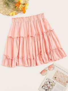 Frill Trim Layered Crepe Skirt