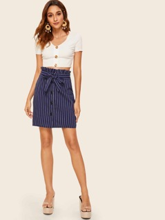 Striped Button Front Paperbag Waist Skirt
