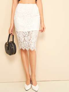 Split Back Floral Lace Overlay Pencil Skirt