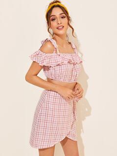Ruffle Cold Shoulder Top & Wrap Skirt Set