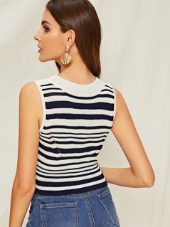 Two Tone Striped Knit Top