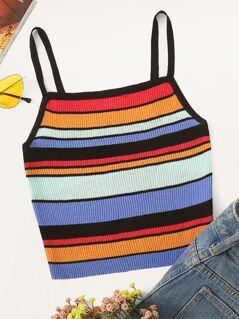Rainbow Stripe Knit Cami Top