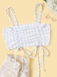 Drawstring Detail Gingham Crop Cami Top