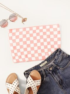Checkered Knit Bandeau Top