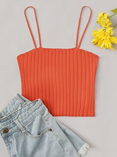 Neon Orange Rib-knit Fitting Cami Top