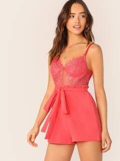 Underwire Bust Sheer Lace Bodice Sleeveless Romper