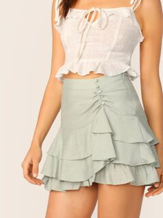 Button Detail Shirred Tiered Ruffle Mini Skirt