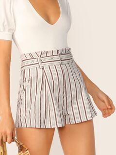 Belted Waist Side Pockets Stripe Shorts
