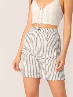 Side Slant Pockets Striped Loose Fit Shorts