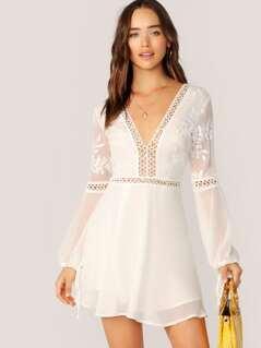 V-Neck Lace Trim Long Sleeve Boho Flare Dress