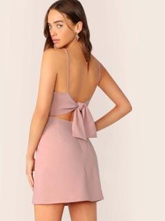 Sleeveless Back Cut Out Tie Mini Dress