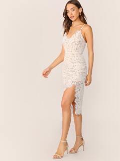 V-Neck Criss Cross Side Slit Sleeveless Lace Dress