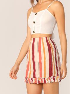 Smocked Sides Ruffle Trim Striped Mini Skirt