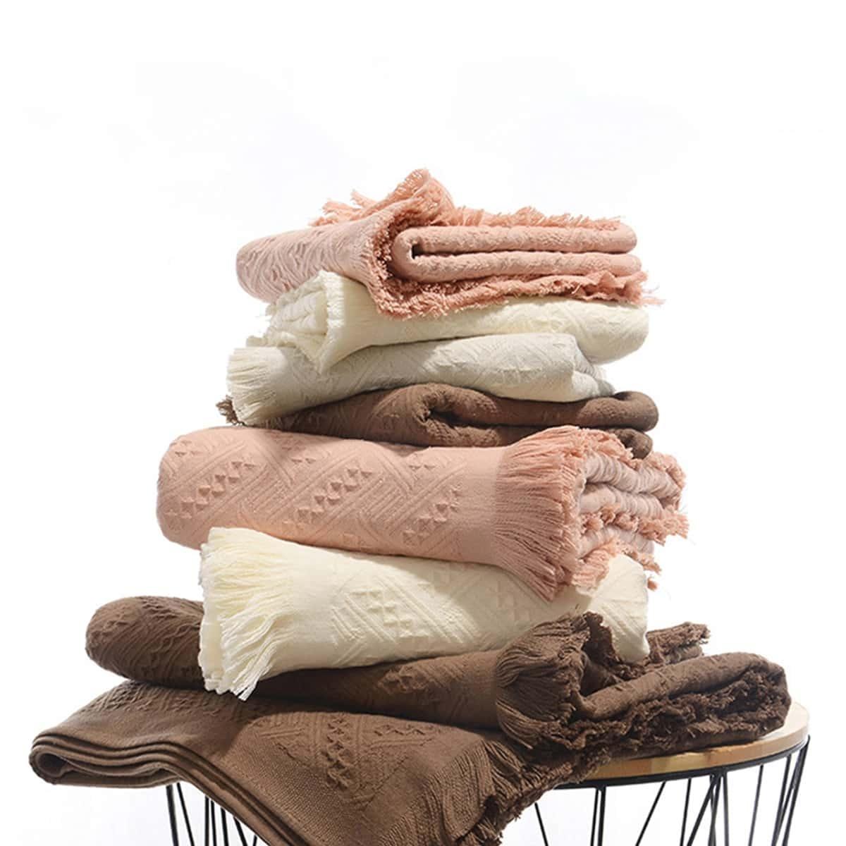 Kwastjes detail handdoek 1pc