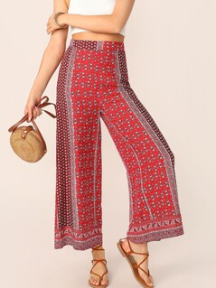 Cut-and-Sew Ditsy Floral Wide Leg Tribal Pants