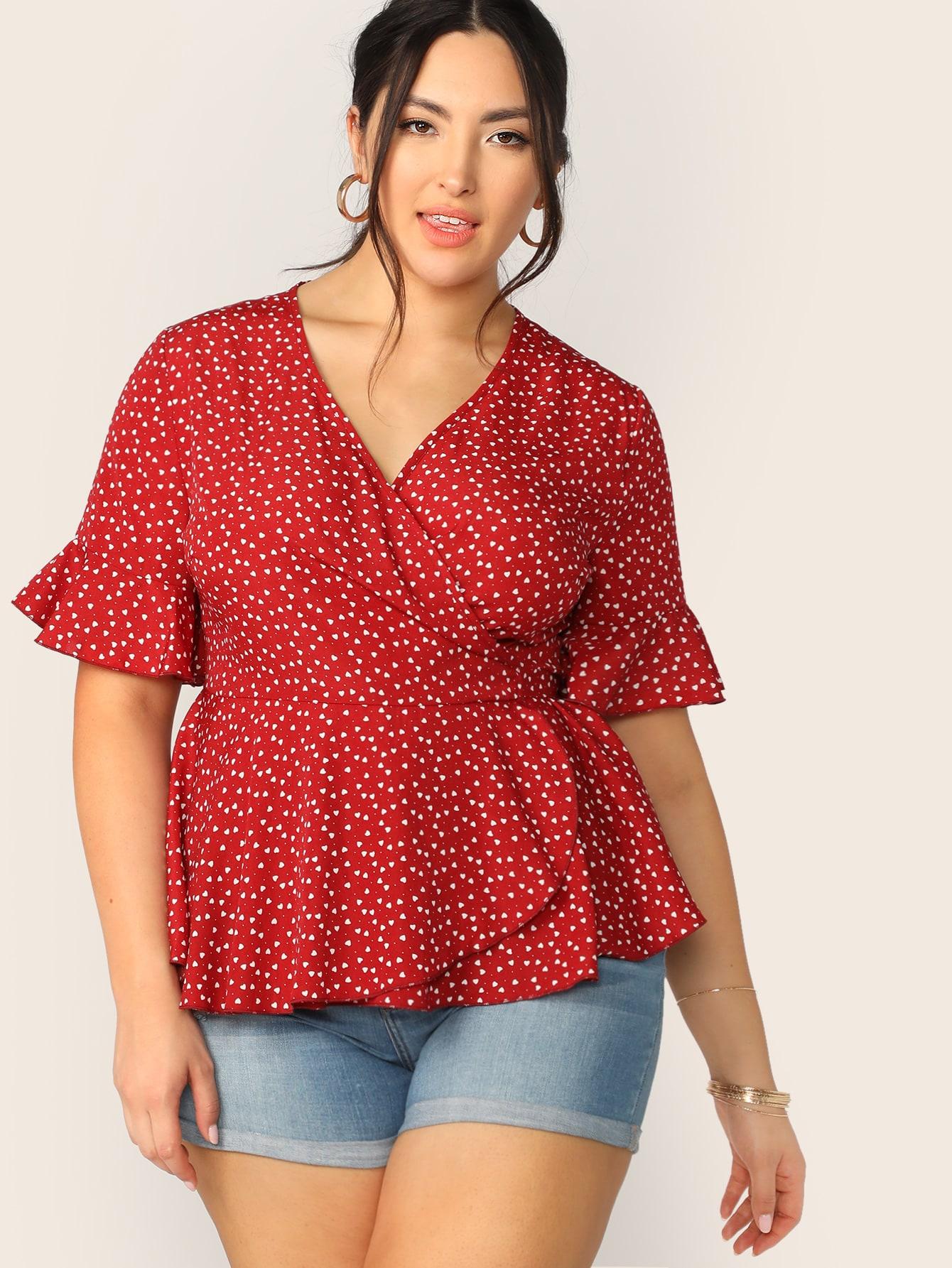 Фото - Блузу на запах с оригинальным рукавом и поясом размера плюс от SheIn цвет красные