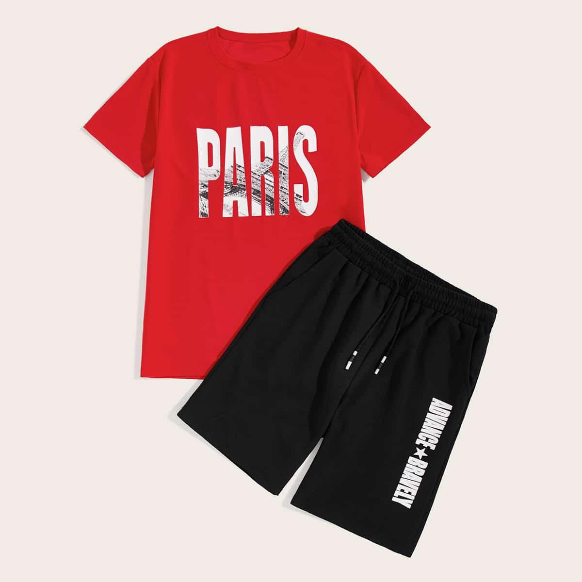Мужские футболка с текстовым принтом и шорты на кулиске от SHEIN