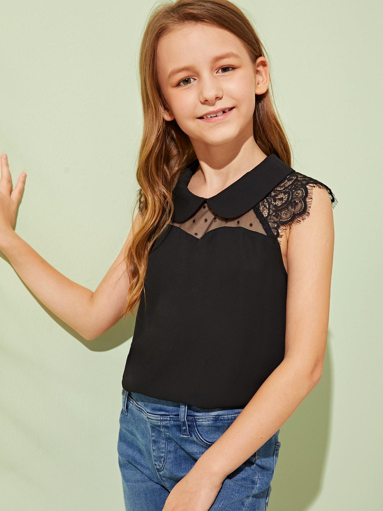 Фото - Однотонный топ с кружевной вставкой для девочек от SheIn черного цвета