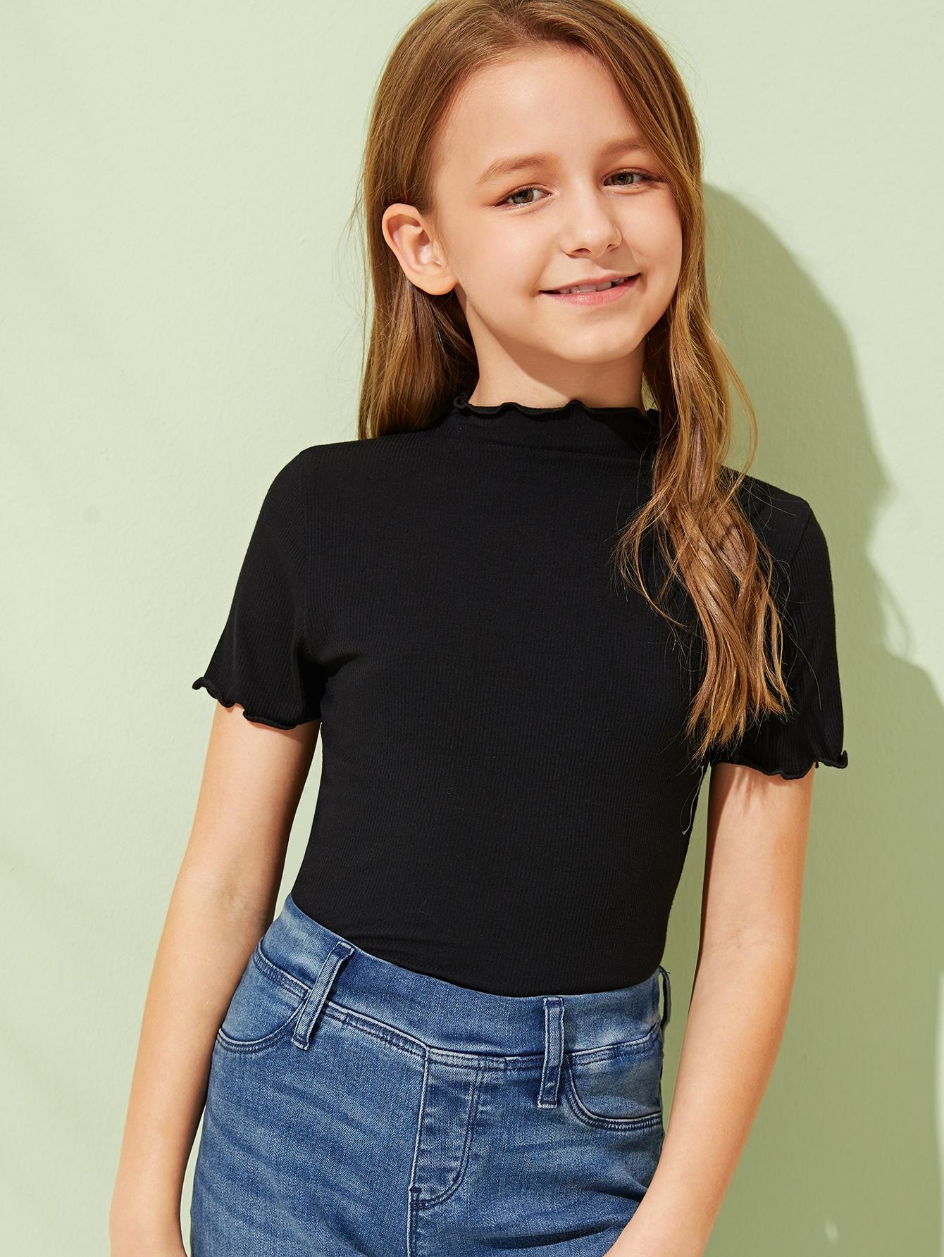 Фото - Топ с воротником-стойка и волнистым краем для девочек от SheIn черного цвета