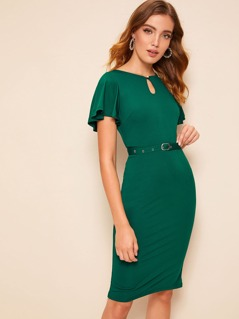 Keyhole Front Flutter Sleeve Belted Pencil Dress
