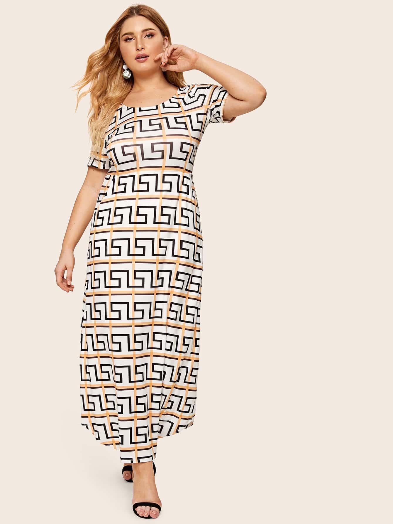 Размер плюс платье с графическим принтом и поясом