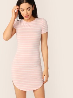 Curved Hem Striped Bodycon T-shirt Dress