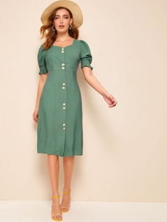 Button Front Puff Sleeve Sweetheart Neck Dress
