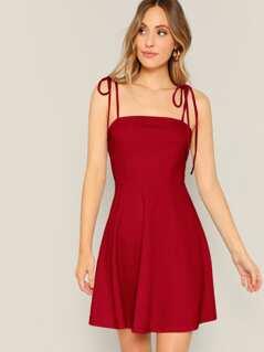 Zip Back Knotted Strap Skater Dress