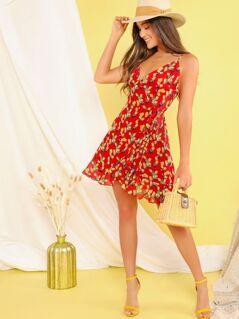 Lemon Ruffle Hem Knotted Sundress With Wrap Skirt
