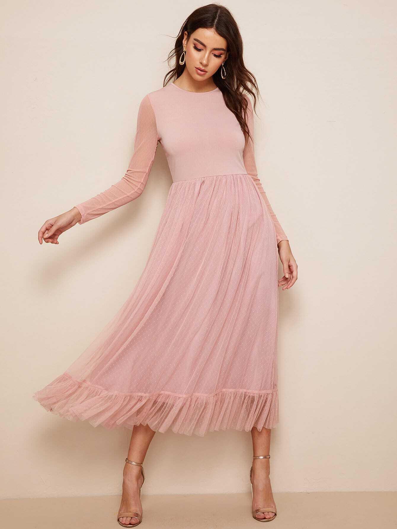 Фото - Приталенное расклешенное платье со сеткой от SheIn цвет розовые