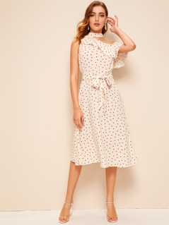 Asymmetrical Neck Ruffle Trim Heart Print Belted Dress