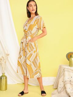 Button Front Striped Belted Shirt Dress