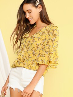 Ditsy Floral Tie Neck Layered Flounce Sleeve Top