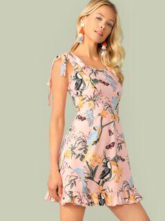 Knot Shoulder Ruffle Trim Animal & Plant Print Dress
