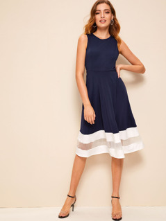Mesh Insert Striped Detail Fit & Flare Dress