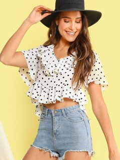 Polka-dot Ruffle Trim Tie Back Crop Blouse