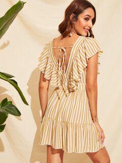 Deep V Neck Ruffle Trim Striped Dress