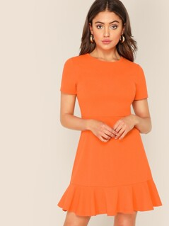 Neon Orange Flippy Hem Dress