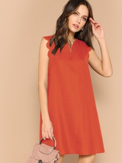 Solid Scalloped Trim Trapeze Dress