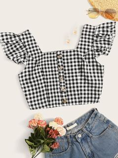 Crop Ruffle Cuff Buttoned Shirred Back Gingham Top