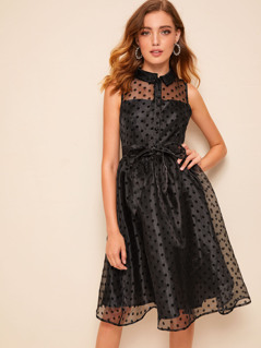 Button Front Sleeveless Belted Dot Organza Dress