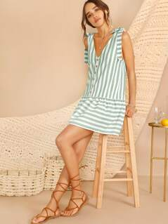Knotted Strap Button Front Striped Dress