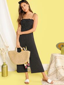 Knot Shoulder Frill Trim Shirred Wide Leg Dot Jumpsuit